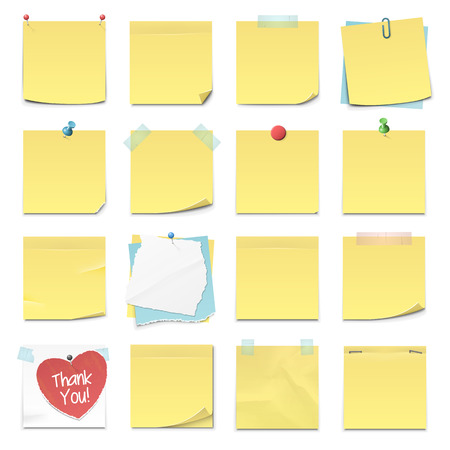 Illustration for Set of sixteen different sticky notes in vector format. - Royalty Free Image