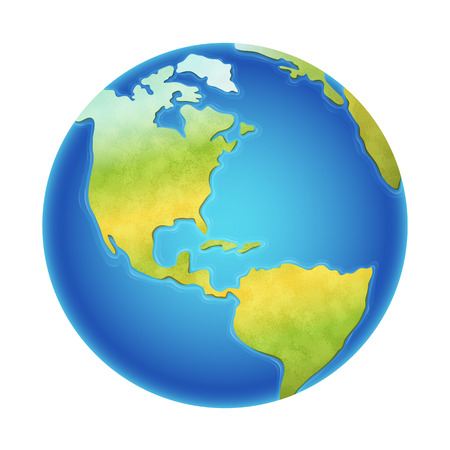 Illustration pour Vector illustration of earth isolated on white, with the western hemisphere visible. - image libre de droit