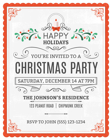 Illustration for christmas party invitation. Dummy text is on a separate layer for easy removal. Only solid fills used. - Royalty Free Image