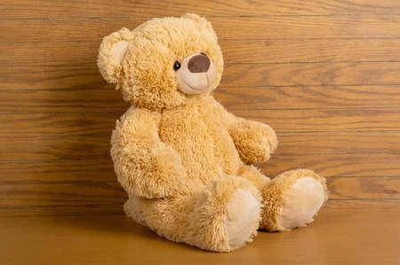 Foto de Teddy bear seated indoors with a wooden floor and wall. - Imagen libre de derechos