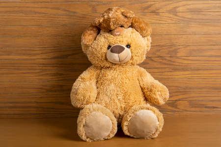 Foto de Teddy bear standing indoors with a wooden floor and wall. - Imagen libre de derechos