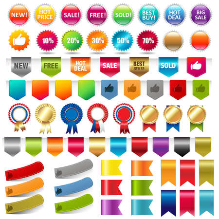 Sale Stickers And Web Ribbons Set, Vector Illustration