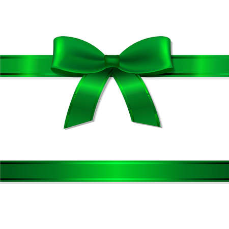 Illustration pour Green Ribbon And Bow With Gradient Mesh, Vector Illustration - image libre de droit