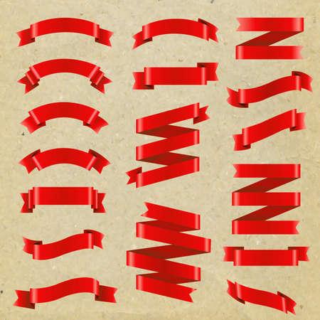 Illustration pour Red Ribbon Big Set, Vector Illustration - image libre de droit