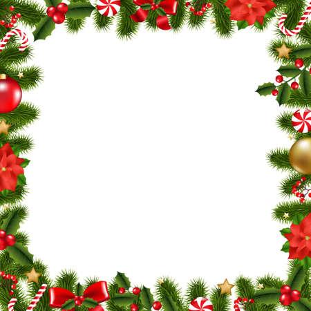 Ilustración de Xmas Frame With Gradient Mesh, Vector Illustration - Imagen libre de derechos