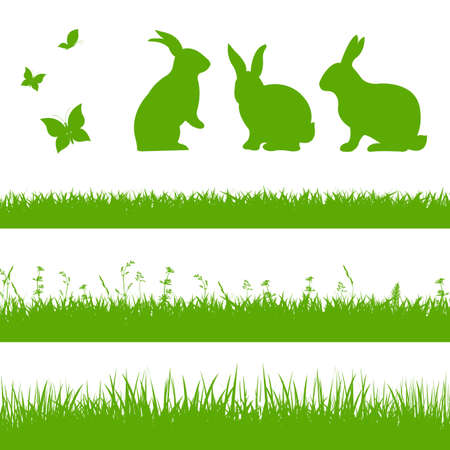 Illustration pour Spring Grass Border With Rabbits - image libre de droit