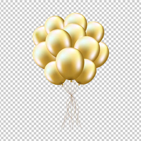 Illustration pour Golden Balloons Sheaf, Isolated on Transparent Background, With Gradient Mesh, Vector Illustration - image libre de droit