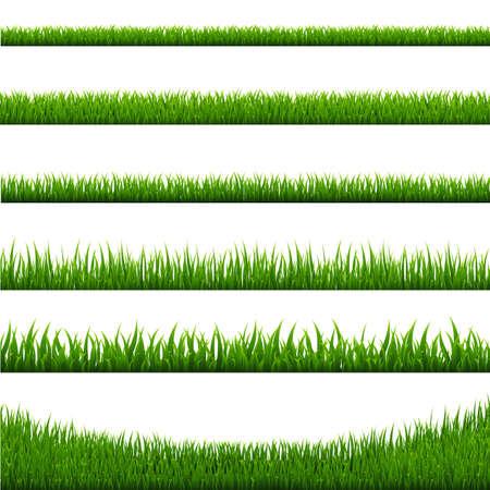 Illustration pour Grass Borders Set, Vector Illustration - image libre de droit