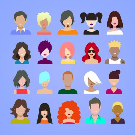 Ilustración de avatars icon set, cartoon flat style vector illustration. - Imagen libre de derechos