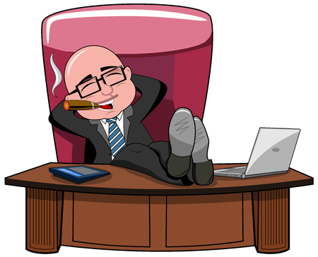 Ilustración de Relaxed bald cartoon businessman boss smoking cigar and legs on the desk isolated - Imagen libre de derechos