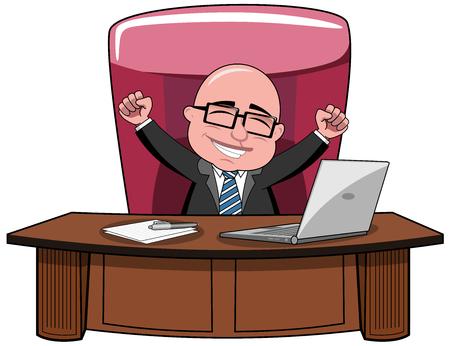 Illustration pour Happy bald cartoon businessman boss sitting at desk and exulting isolated - image libre de droit