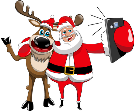 Illustrazione per Reindeer and santa claus hugging and taking selfie isolated - Immagini Royalty Free