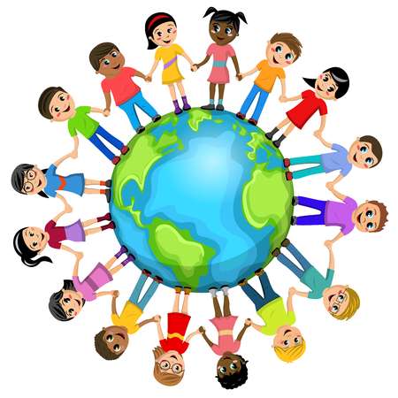 Illustration pour Children or kids hand in hand around the world isolated - image libre de droit