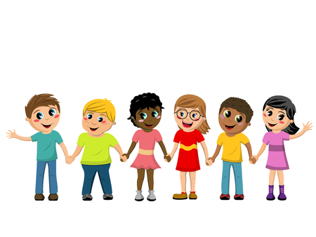 Illustration pour Happy Children or kids hand in hand isolated - image libre de droit