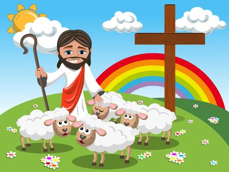 Ilustración de Cartoon Jesus holding stick and stroking sheep in the meadow - Imagen libre de derechos