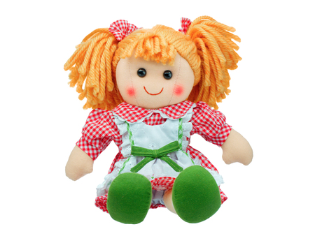 Photo for Smiling sit Cute rag doll isolated - Royalty Free Image