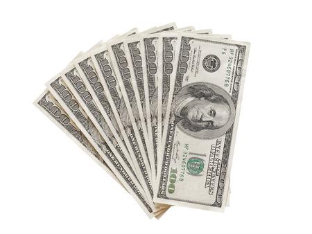 Photo pour Fan of 100 dollars bills isolated top view - image libre de droit