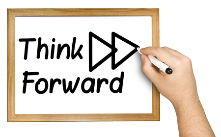 Photo pour Hand writing think forward on whiteboard isolated - image libre de droit