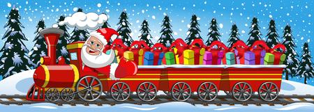 Ilustración de Cartoon Santa Claus Delivering gifts driving steam locomotive with three wagons in the snow - Imagen libre de derechos