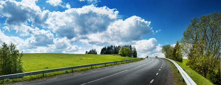Photo for asphalt road panorama in countryside on sunny spring day - Royalty Free Image