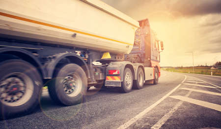 Foto per truck on asphalt road - Immagine Royalty Free