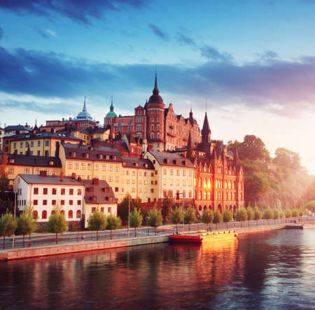 Photo for Old Stockholm view at night in summer - Royalty Free Image