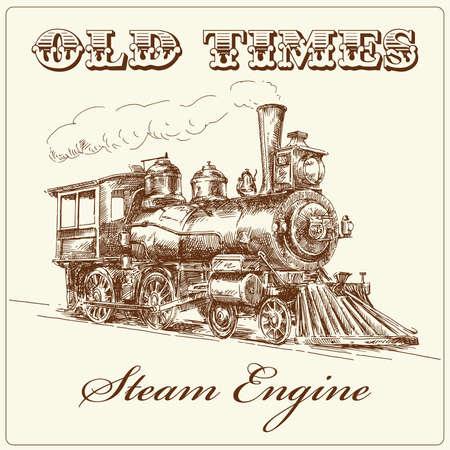 hand drawn steam locomotive