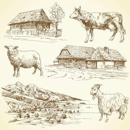 Illustration for hand drawn set - rural landscape, village, farm animals - Royalty Free Image