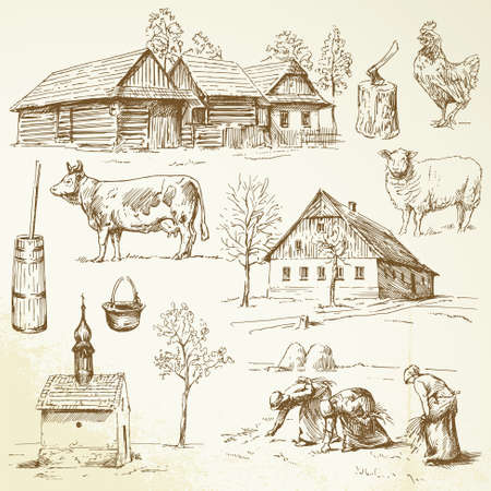 Illustration pour farm, rural houses - hand drawn collection - image libre de droit