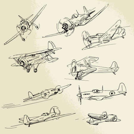Photo for hand drawn airplanes - Royalty Free Image