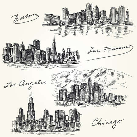 Illustration pour american cities skylines - hand drawn set - image libre de droit