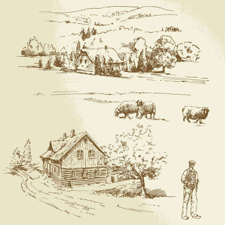 Illustration pour rural landscape, agriculture - image libre de droit