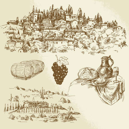 Illustration pour Italian rural landscape - vineyard - hand drawn illustration - image libre de droit