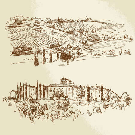 Illustration pour vineyard, romantic landscape - hand drawn illustration - image libre de droit