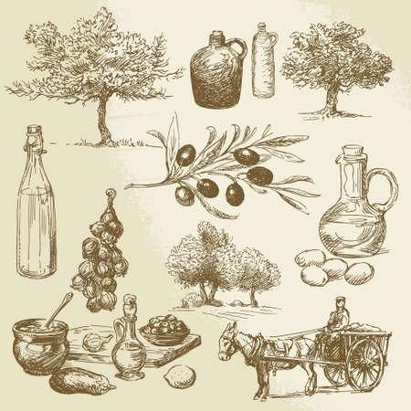 Illustration pour harvest and olive product - hand drawn collection  - image libre de droit
