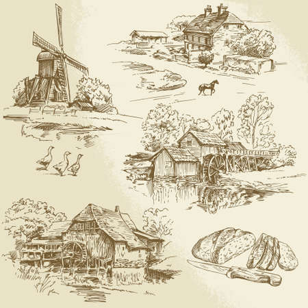 Illustration pour hand drawn collection - windmill and watermill - image libre de droit