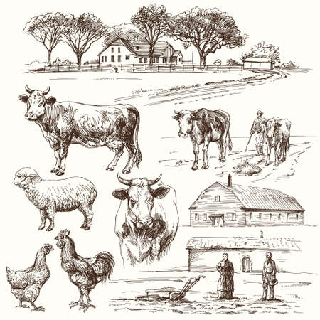 Ilustración de farm, cow, agriculture - hand drawn collection - Imagen libre de derechos
