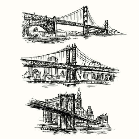 Illustration pour famous bridges - hand drawn set - image libre de droit