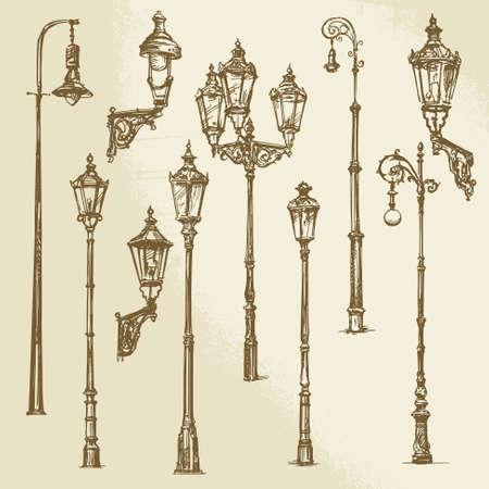 Illustrazione per Street lamp set - Immagini Royalty Free