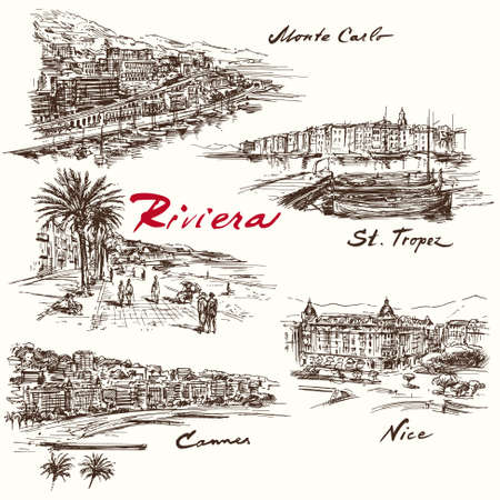 Illustration pour French Riviera - hand drawn set - image libre de droit