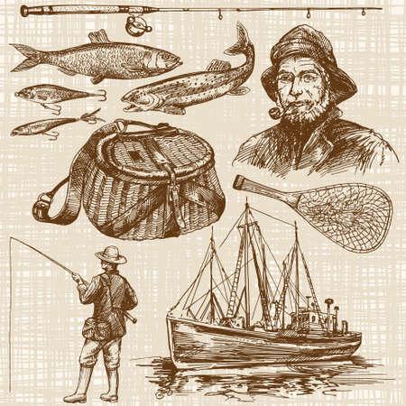 Illustration pour Fishing. Hand drawn set - image libre de droit