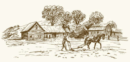 Illustration pour Ploughing the Field with Horse, barn on the background - image libre de droit
