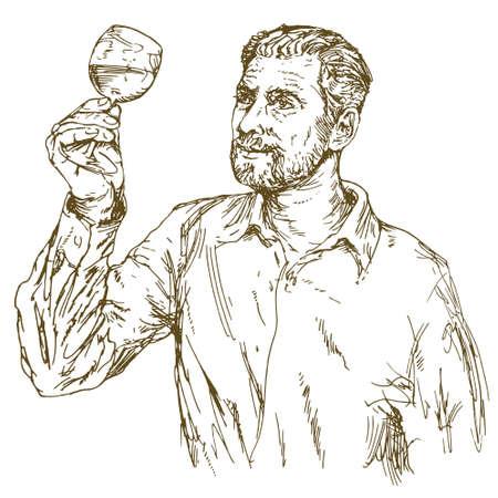 Illustration pour Winemaker tasting wine. Hand drawn illustration. - image libre de droit