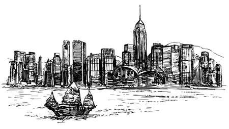 Ilustración de Hong Kong harbor, tourist junk. Hand drawn vector illustration. - Imagen libre de derechos