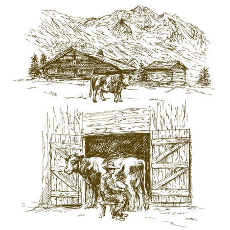 Illustration pour Cow grazing, farmer milking a cow. - image libre de droit