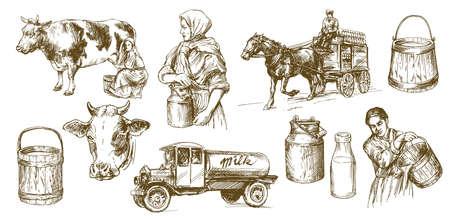 Ilustración de Cow, milk, dairy product. Set of hand drawn illustration. - Imagen libre de derechos