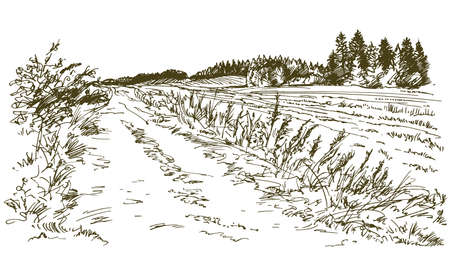 Illustration pour Rural landscape. Hand drawn set. - image libre de droit