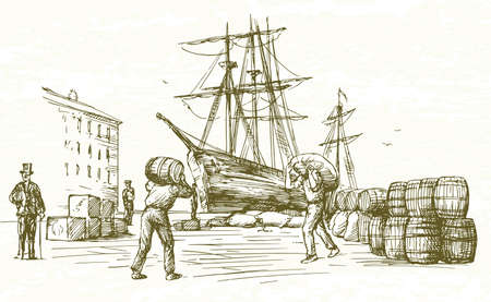 Illustration pour Vintage harbor. Hand drawn illustration. - image libre de droit