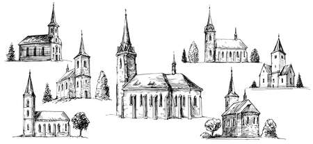 Illustration pour Christian church building, set of hand drawn vector illustration. - image libre de droit
