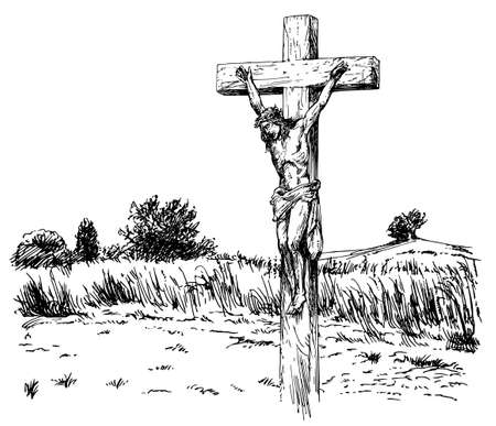 Illustration for Jesus Christ crucified. - Royalty Free Image
